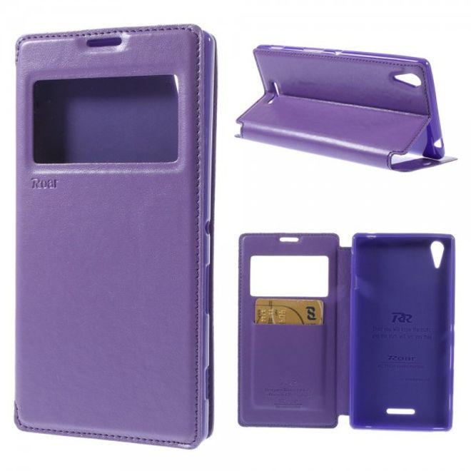 Roar Sony Xperia T3 Roar Korea Nobles Leder Flip Case mit kleinem Fenster - purpur