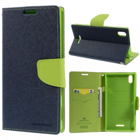 Goospery - Sony Xperia T3 Hülle - Handy Bookcover - Fancy Diary Series - navy/lime