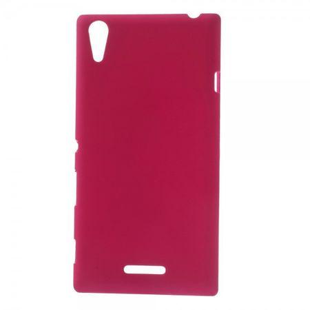 Sony Xperia T3 Gummiertes Hart Plastik Case - rosa