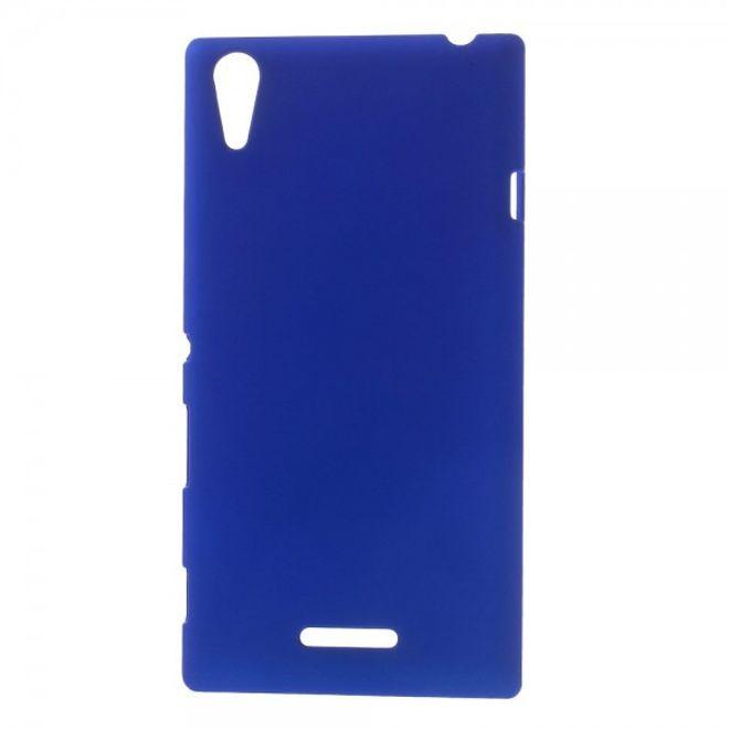 Sony Xperia T3 Gummiertes Hart Plastik Case - dunkelblau