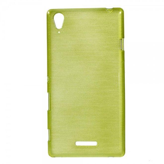 Sony Xperia T3 Glänzendes, elastisches und gebürstetes Plastik Case - grün