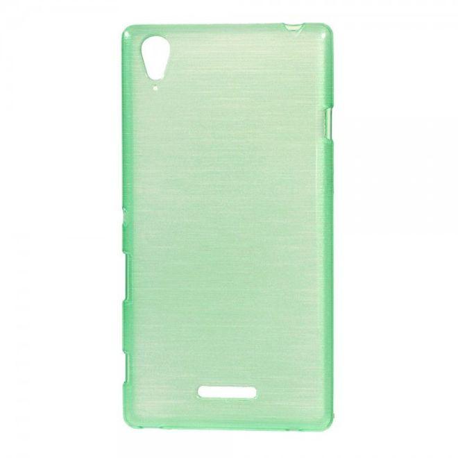 Sony Xperia T3 Glänzendes, elastisches und gebürstetes Plastik Case - cyan