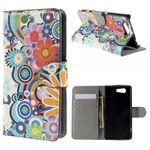 Sony Xperia Z4 Compact Leder Case mit farbenfrohen Blumen - weiss