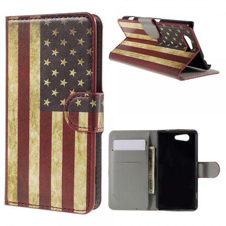 Sony Xperia Z4 Compact Leder Case mit USA Flagge retro-style