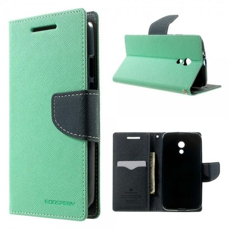 Goospery - Motorola Moto G (2 Gen) Hülle - Handy Bookcover - Fancy Diary Series - mint/navy