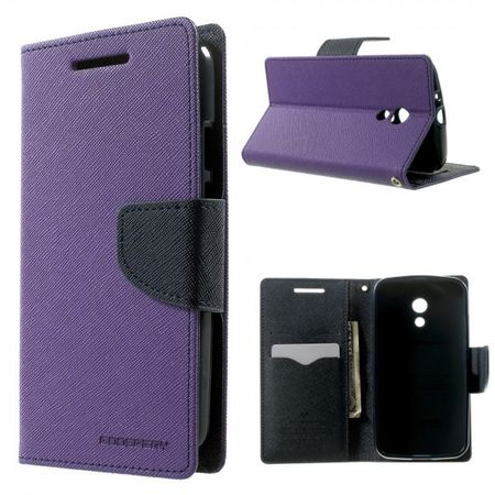 Goospery - Motorola Moto G (2 Gen) Hülle - Handy Bookcover - Fancy Diary Series - purpur/navy