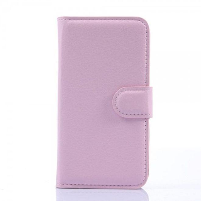 Wiko Sunset Leder Case mit Litchitextur und Standfunktion - pink