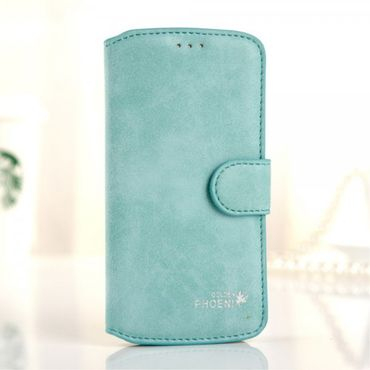 Samsung Galaxy S6 Edge Golden Phoenix Retro Echtleder Case - cyan