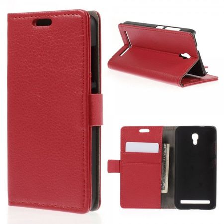 Alcatel One Touch Idol 2 Mini S Magnetisches Leder Case mit Litchitextur - rot