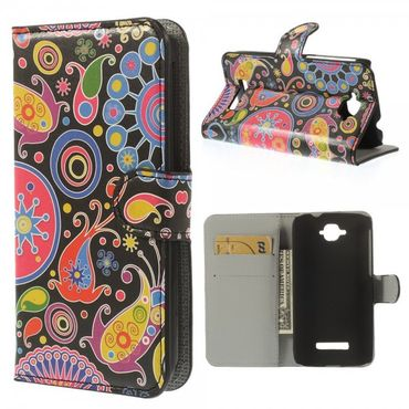 Alcatel One Touch Pop C7 Leder Case mit farbigem Muster - schwarz