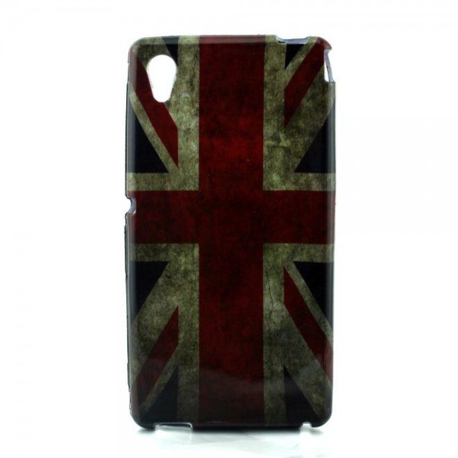 Sony Xperia M4 Aqua Elastisches, leicht glänzendes Plastik Case mit UK Flagge retro-style