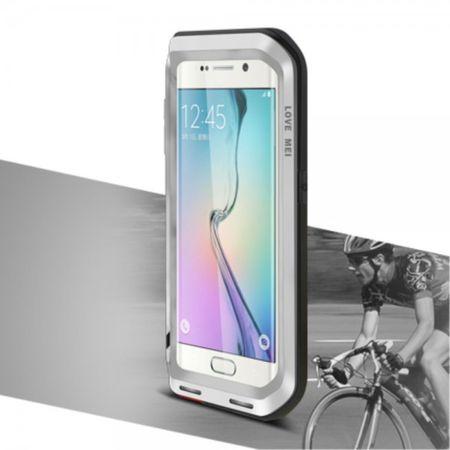 Samsung Galaxy S6 Edge LOVE MEI Ultrarobustes Metall und Silikon Case (ohne Gorilla Glas) - silber