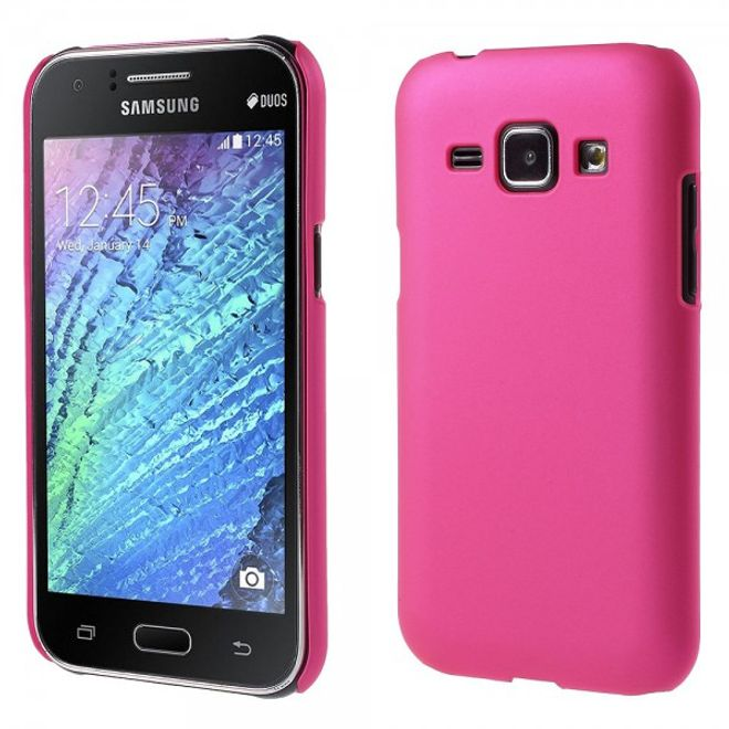 Samsung Galaxy J1 Gummiertes Hart Plastik Case - rosa