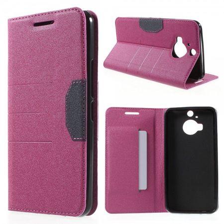 HTC One M9 Plus Leder Case mit sandartiger Textur und Standfunktion - rosa