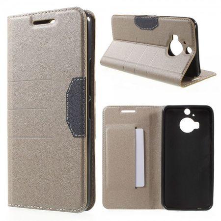 HTC One M9 Plus Leder Case mit sandartiger Textur und Standfunktion - champagnerfarben