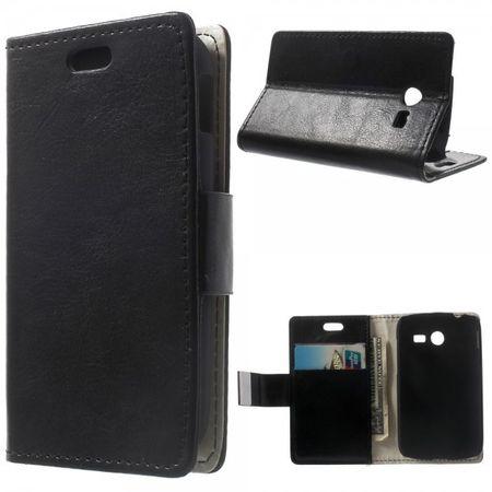 Samsung Galaxy Pocket 2 Crazy Horse Leder Case mit Kreditkartenslots - schwarz