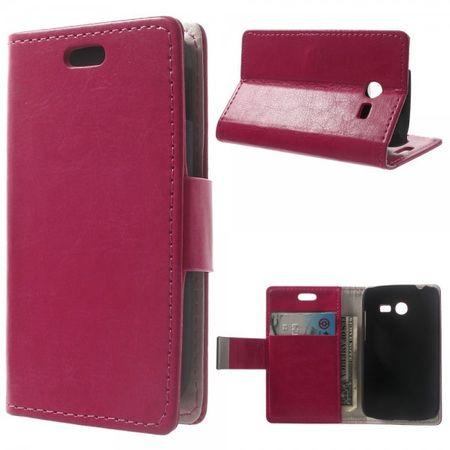 Samsung Galaxy Pocket 2 Crazy Horse Leder Case mit Kreditkartenslots - rosa