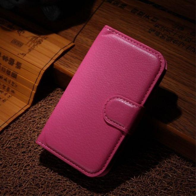 Samsung Galaxy Pocket 2 Schickes Leder Case mit Litchitextur - rosa