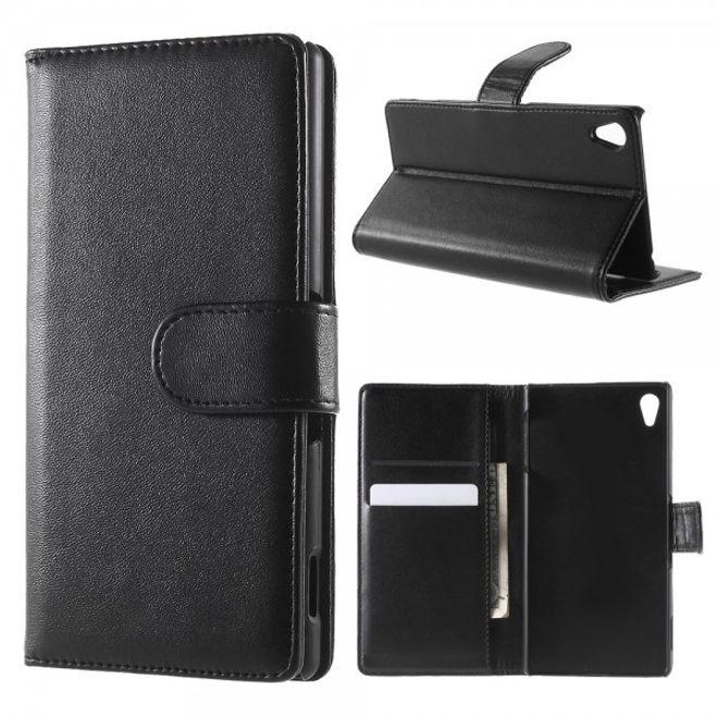 Sony Xperia Z4/Z3+/Z3+ Dual Leder Flip Case mit Standfunktion - schwarz