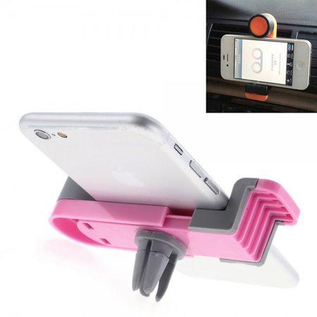 Auto Halterung für den Lüftungsschlitz mit rotierbarem Rad für Smartphones von 52-90mm Breite - rosa