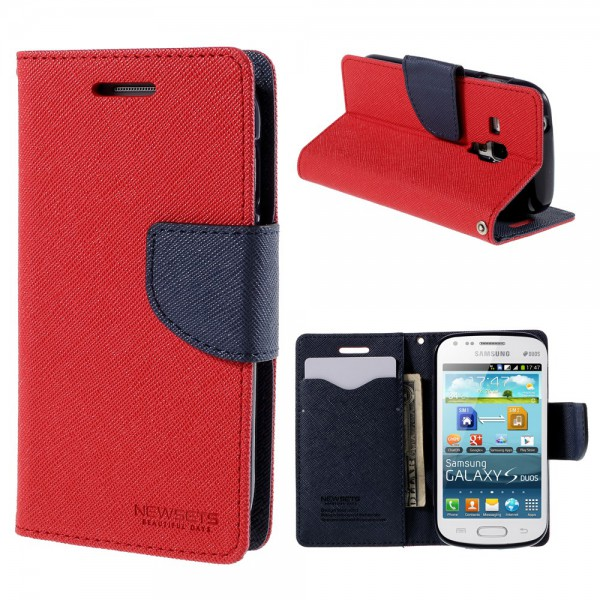 Newsets Samsung Galaxy S Duos/Trend Newsets Mercury Leder Case mit Kreuzmuster - rot