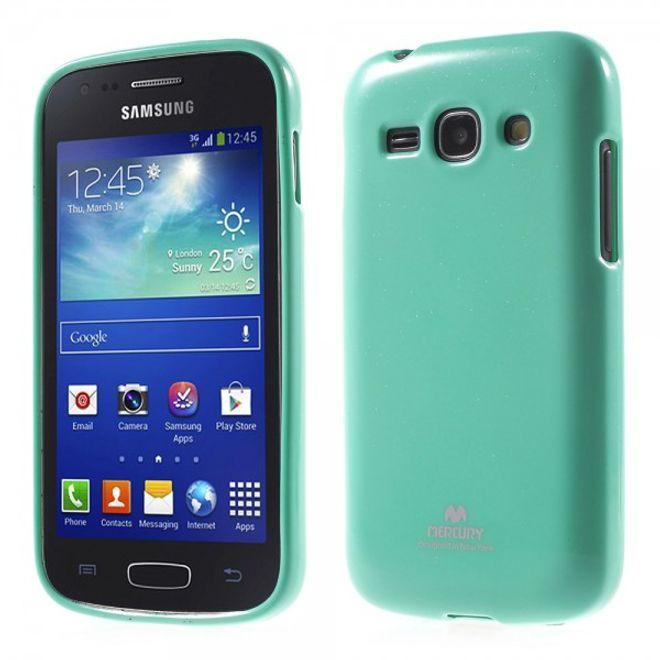 Newsets Samsung Galaxy Ace 3 Newsets Mercury Elastisches, leicht glänzendes Plastik Case - cyan