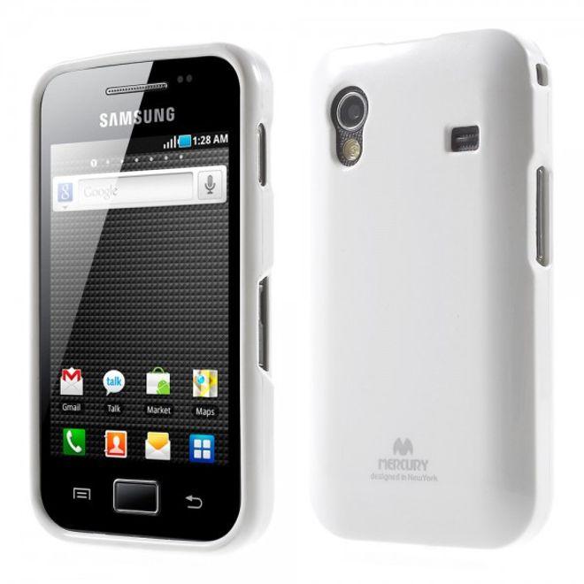 Newsets Samsung Galaxy Ace 1 (S5830) Newsets Mercury Elastisches, leicht glitzerndes Plastik Case - weiss