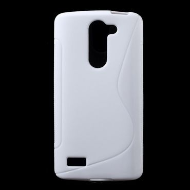 LG L Bello Elastisches Plastik Case S-Shape - weiss