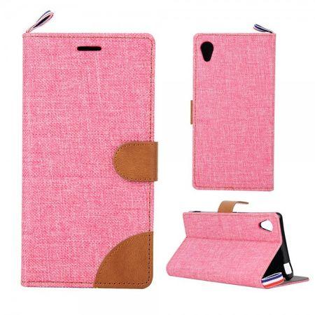 Sony Xperia M4 Aqua Leder Case im Jeans Look mit Kreditkartenslots - pink