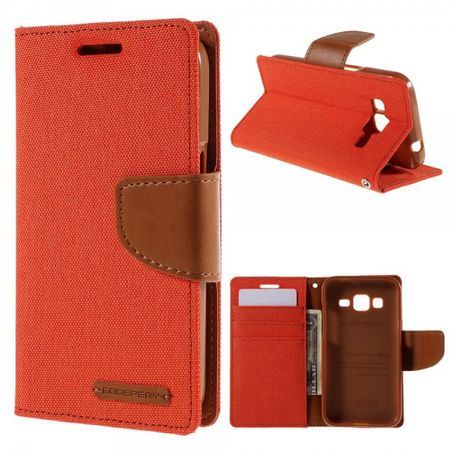 Goospery - Samsung Galaxy Core Prime Hülle - Handy Bookcover - Canvas Diary Series - orange/camel