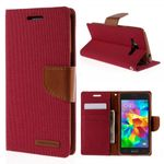 Goospery - Samsung Galaxy Grand Prime Hülle - Handy Bookcover - Canvas Diary Series - rot/camel