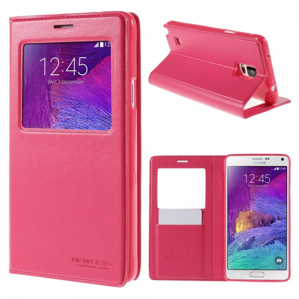 Newsets Samsung Galaxy Note 4 Newsets Mercury Leder Case mit kleinem Fenster - rosa