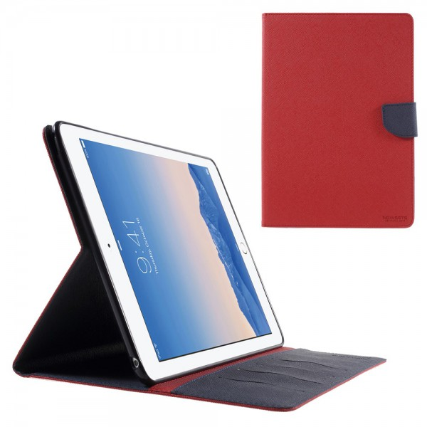 Newsets iPad Air 2 Newsets Mercury Leder Smart Case mit Kreuzmuster - rot