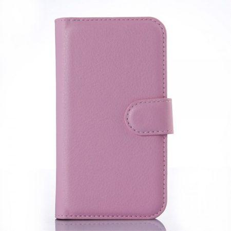 Motorola Moto E2 (2015 Edition) Leder Case mit Litchitextur - pink