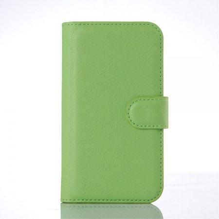 Motorola Moto E2 (2015 Edition) Leder Case mit Litchitextur - grün