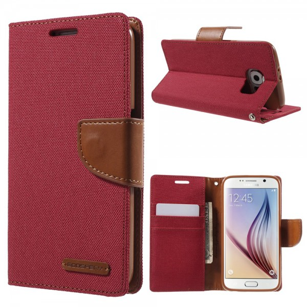 Newsets Samsung Galaxy S6 Newsets Mercury Stoffartiges Leder Case - rot