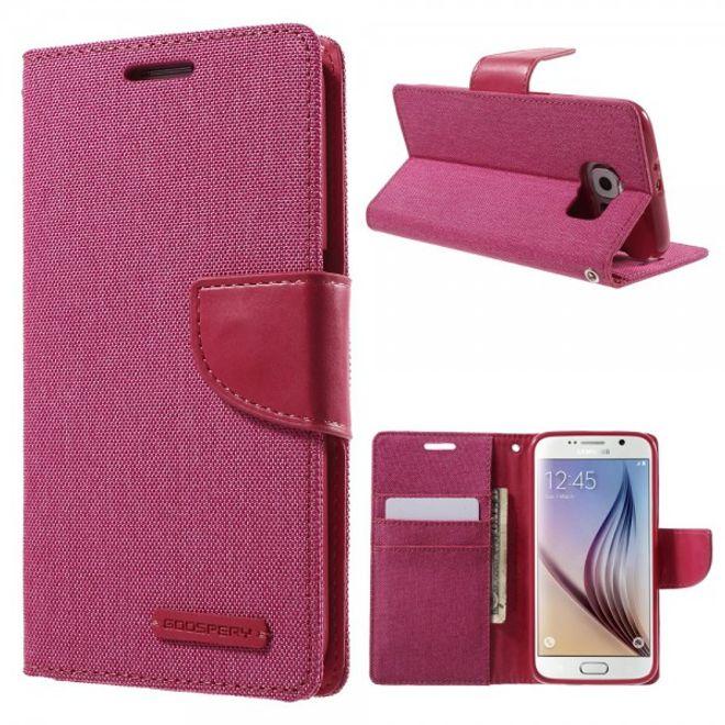 Newsets Samsung Galaxy S6 Newsets Mercury Stoffartiges Leder Case - rosa