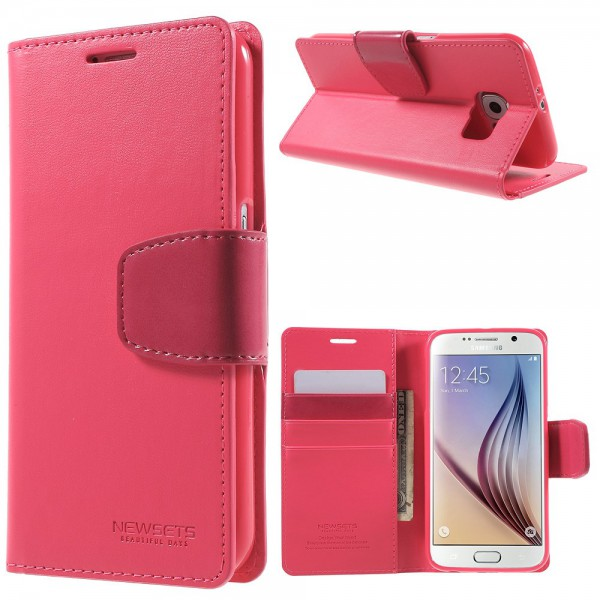 Newsets Samsung Galaxy S6 Newsets Mercury SNT Series Leder Case - rosa