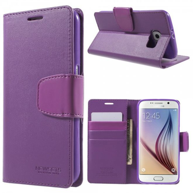Newsets Samsung Galaxy S6 Newsets Mercury SNT Series Leder Case - purpur