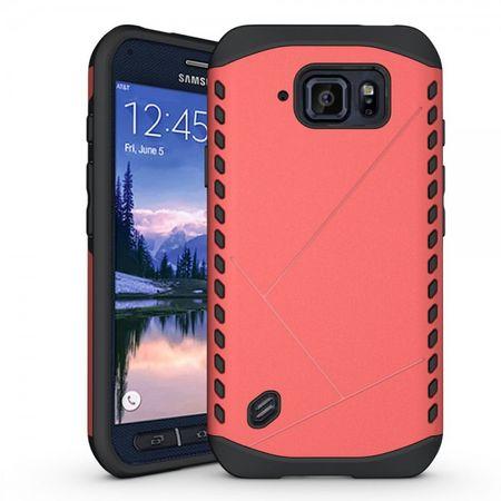 Samsung Galaxy S6 Active Robustes Plastik und Silikon Case - rosa
