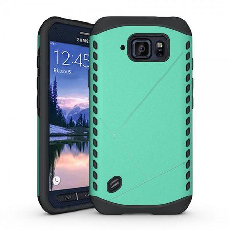 Samsung Galaxy S6 Active Robustes Plastik und Silikon Case - grün