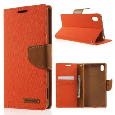 Sony Xperia Z4/Z3+/Z3+ Dual Mercury Goospery Stoffartiges Leder Case - orange