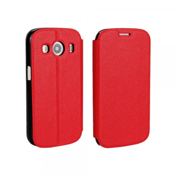 Samsung Galaxy Ace 4 Schlankes, grobes Leder Case mit Standfunktion - rot