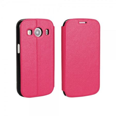 Samsung Galaxy Ace 4 Schlankes, grobes Leder Case mit Standfunktion - rosa
