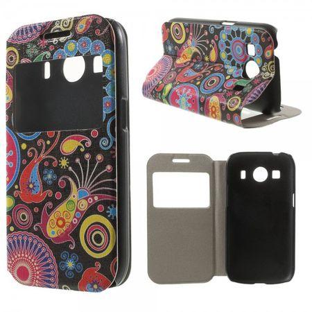 Samsung Galaxy Ace 4 Leder Case mit kleinem Fenster und farbigem Muster - schwarz