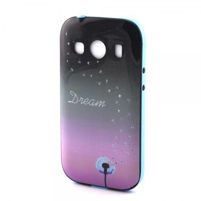 Samsung Galaxy Ace 4 Elastisches Plastik Case mit Löwenzahn und Schriftzug Dream