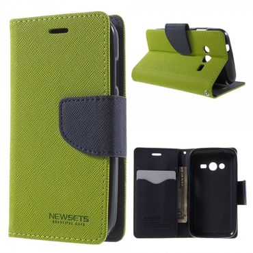 Samsung Galaxy Ace 4 (LTE Version) Newsets Mercury Leder Case mit Kreuzmuster - grün