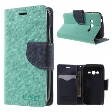 Samsung Galaxy Ace 4 (LTE Version) Newsets Mercury Leder Case mit Kreuzmuster - cyan