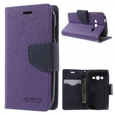 Samsung Galaxy Ace 4 (LTE Version) Newsets Mercury Leder Case mit Kreuzmuster - purpur