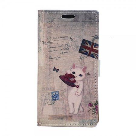 Samsung Galaxy Xcover 3 Magnetisches Leder Case mit Katze und Union Jack Flagge